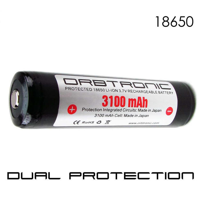 18650 PROTECTED 3100mAh Li-ion Rechargeable Orbtronic-Panasonic Battery-Button Top-Battery Case Included