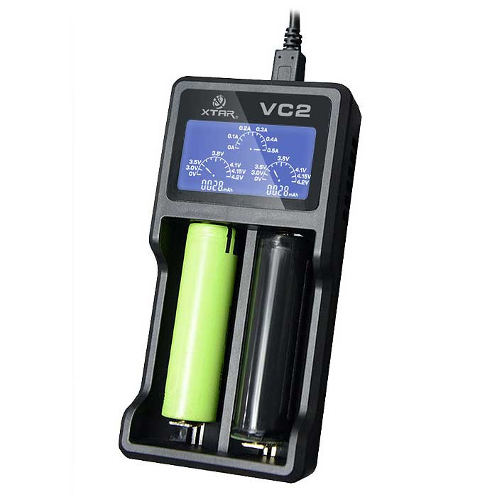 Xtar VC2 battery charger for 18650 18500 14500 18350 16650 26650 16340 10440 Li-ion or IMR batteries