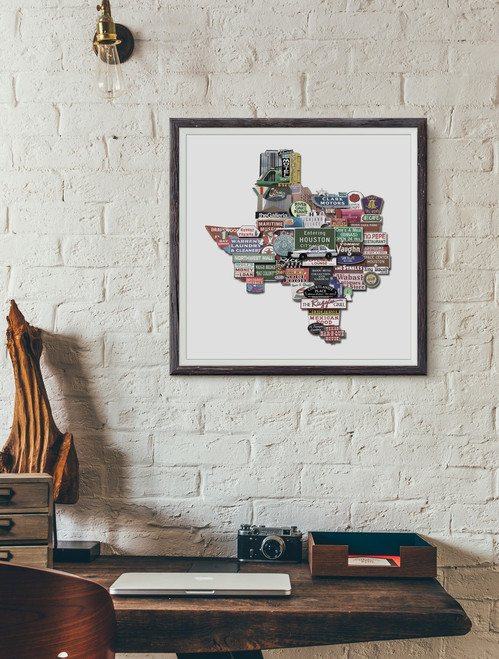 Houston Art  | Texas Shaped Photomontage Print | Carl Walker Crum