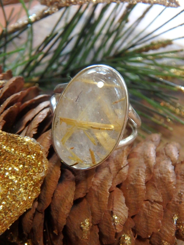 Threads of Golden Rutilated Quartz Gemstone Ring in Sterling Silver (Size 7.5)