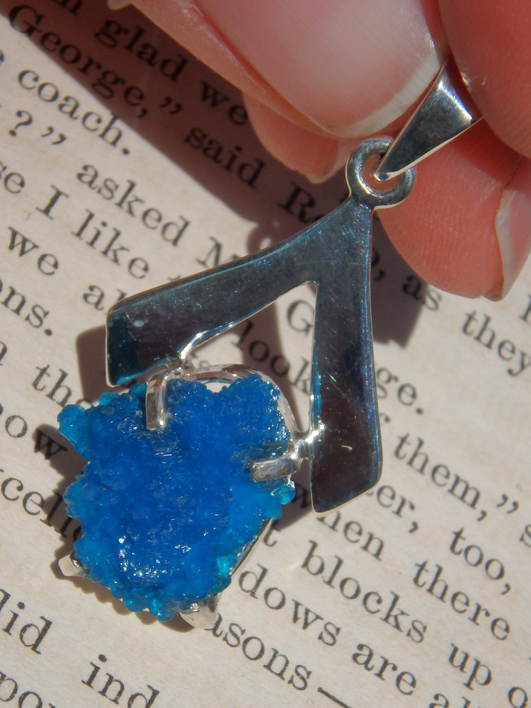 Stunning Vibrant Blue Cavansite Pendant in Sterling Silver (Includes Silver Chain)