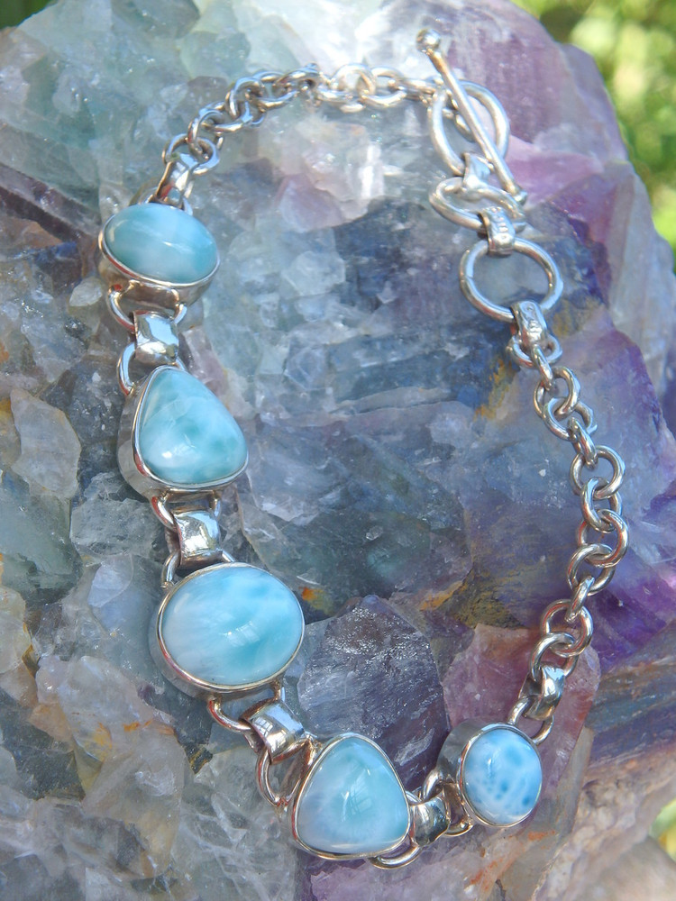 Exquisite Caribbean Blue Larimar Gemstone Bracelet in Sterling Silver (Adjustable Size 7-8 inches)