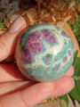 Pretty Color Contrast Ruby Fuschite Sphere Carving 1