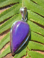 Pretty Purple Genuine Sugilite Pendant in Sterling Silver (Includes Silver Chain)