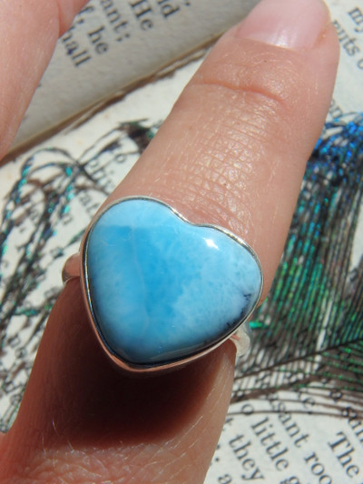 Larimar Blue Tranquility Heart Ring in Sterling Silver (Size 8)