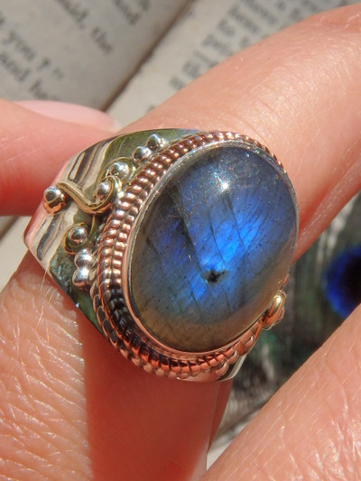 Mysterious Labradorite Blue Flash Ring in Sterling Silver (Size 7)