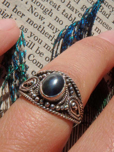 Shiny Black Hematite Ring in Sterling Silver (Size 5.5)