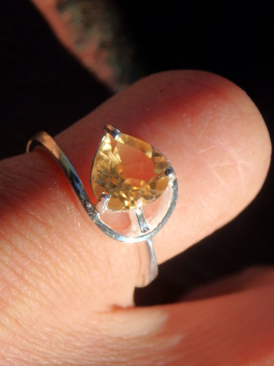 Golden Faceted Citrine Ring in Sterling Silver (Size 5)