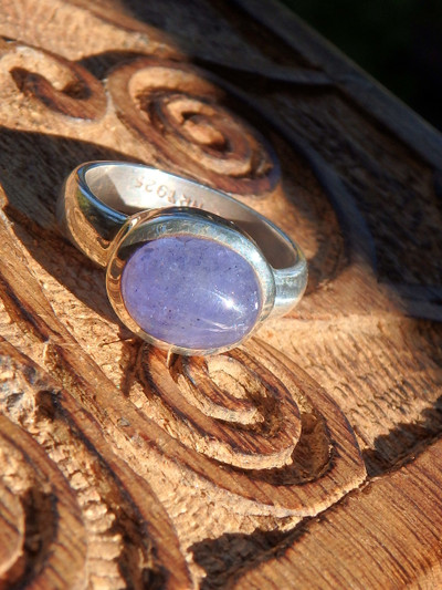Violet Purple Tanzanite Ring in Sterling Silver (Size 8)