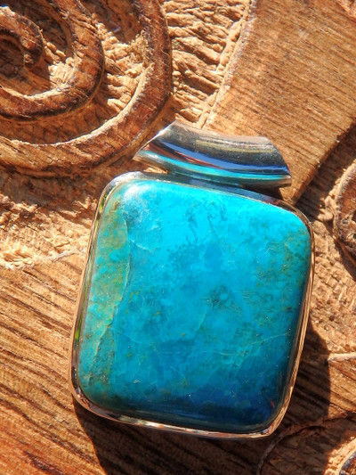 Uplifting Turquoise Blue Shattuckite Pendant in Sterling Silver (Includes Silver Chain)