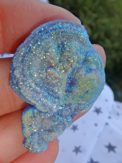 Adorable Angel Aura Infused Chalcedony Button Specimen 1