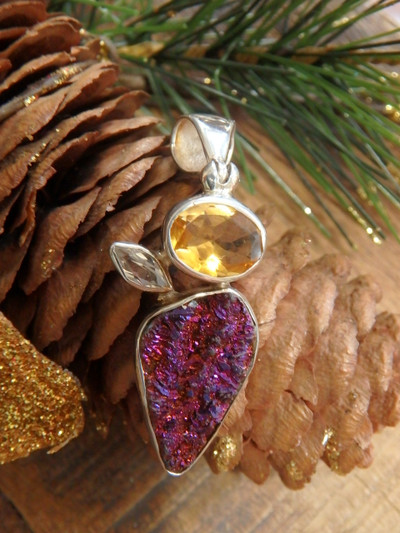 Stunning Pink Titanium Druzy, Faceted Citrine & White Topaz Gemstone Pendant in Sterling Silver (Includes Silver Chain)