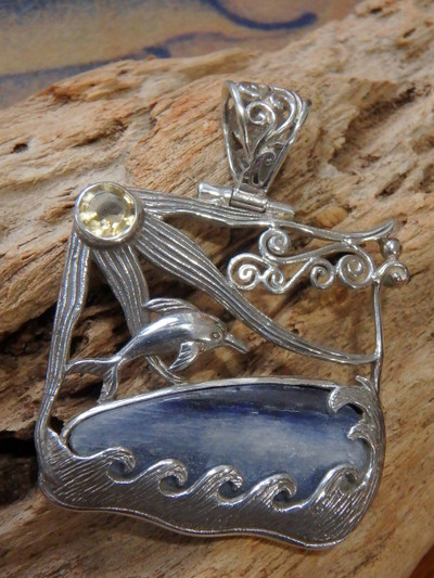Underwater Adventure! Blue Kyanite Faceted Citrine Swimming Dolphin Pendant in Sterling Silver (Includes Silver Chain)