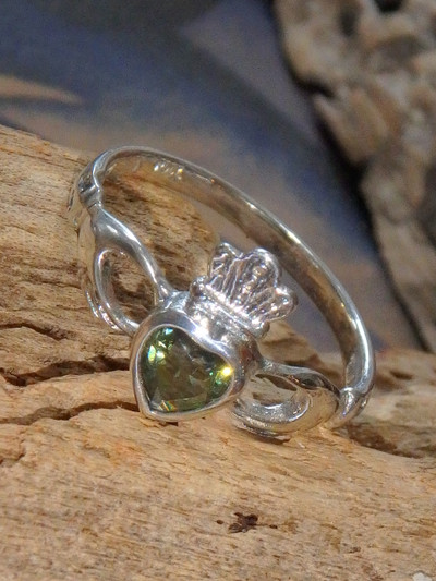 Faceted Moldavite Traditional Irish Claddagh Ring in Sterling Silver (Size 7 ,8, 9,10)