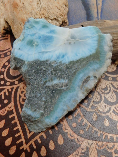 Lovely Deep Blue & Creamy Larimar Partially Polished Free Form Specimen