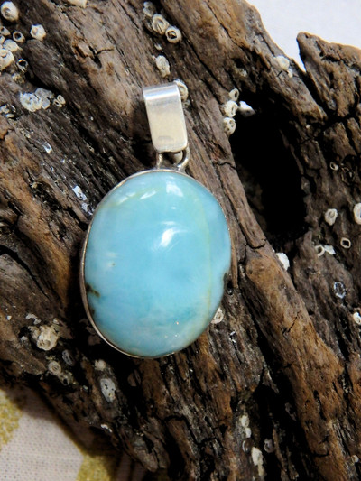 Calming Blue Larimar Gemstone Pendant in Sterling Silver (Includes Silver Chain)