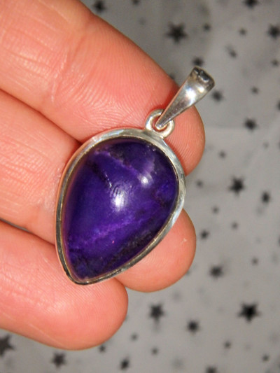 Deep Purple Healing Sugilite Pendant in Sterling Silver (Includes Silver Chain)