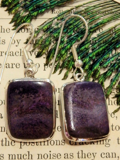 Gorgeous Genuine Purple Sugilite Earrings in Sterling Silver (Includes Silver Chain)