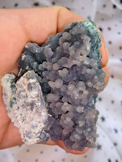 One of a Kind! Shimmering Deep Green & Purple Contrast Grape Agate Cluster From Indonesia