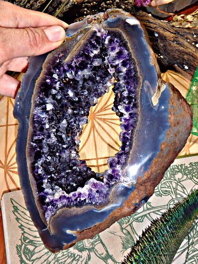 Exquisite XL Window Amethyst Geode From Uruguay With Display Stand