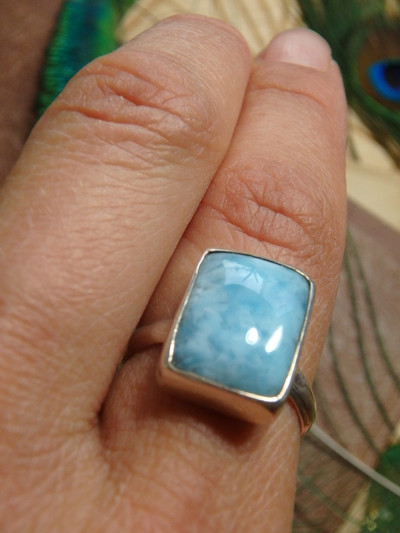 Gorgeous Blue Larimar Ring In Sterling Silver 4 (Size 8)