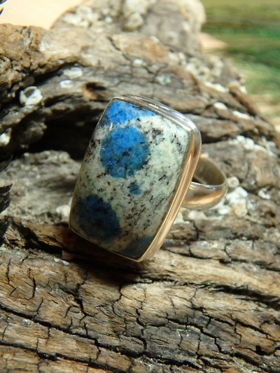 New Find! Fabulous Azurite Poppy Patterns K2 Stone Ring In Sterling Silver (Size 8)