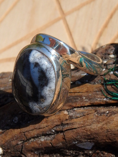 Divine Dendritic Agate Gemstone Ring In Sterling Silver (Size 7.5)