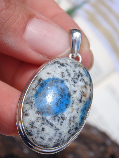 Azurite Included! Interesting K2 Stone Pendant In Sterling Silver (Includes Silver Chain)