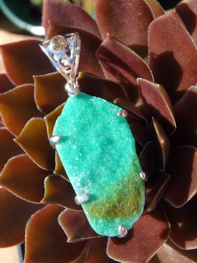 Custom Crafted~ Vibrant Green Variscite Druzy & Faceted Citrine Pendant In Sterling Silver (Includes Silver Chain)