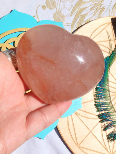 Lovely Red Hematoid Quartz Love Heart Carving