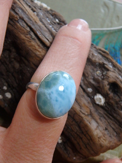 Pretty Patterns Blue Larimar  Ring In Sterling Silver (Size 7.5)