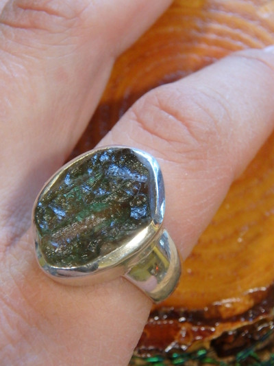 Amazing Texture Chunky Genuine Moldavite Ring In Sterling Silver (Size 8.5)