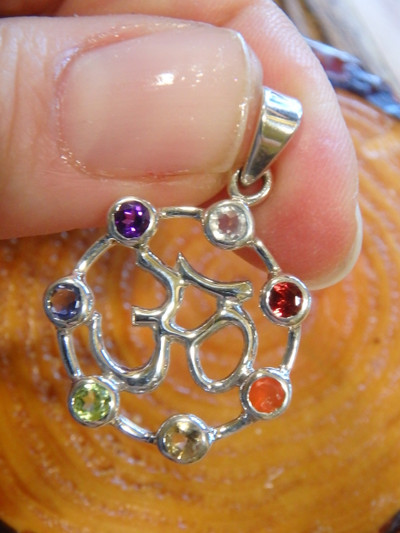 Gorgeous OM Faceted Chakra Stone Pendant In Sterling Silver (Includes Silver Chain)