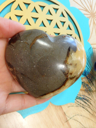 Golden & Warm Brown Septarian Heart Carving