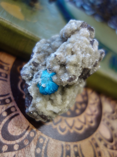 Awesome Electric Blue Cavansite Nestled In Matrix From India