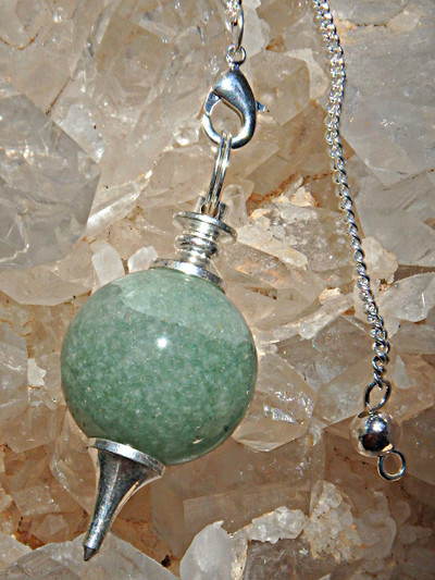 Fantastic Sphere Shaped Green Aventurine Pendulum With Detachable Cord