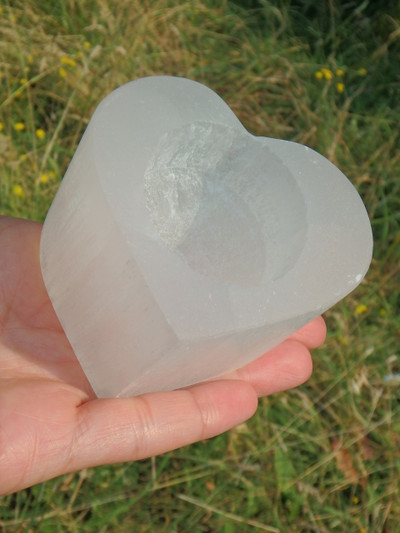 Gorgeous Chunky White Selenite Heart Candle Holder
