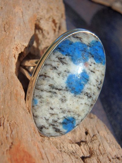 Chunky Dotted Blue Azurite K2 Stone Ring In Sterling Silver (Size 10)