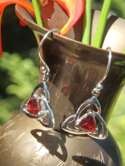 Faceted Red Garnet Trillion Earrings in Sterling Silver