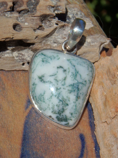 Moss Agate Rainforest Bliss Pendant in Sterling Silver ( Includes Silver Chain)