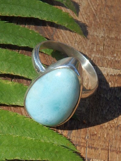 Blue Serenity Larimar Ring in Sterling Silver (Size 7)