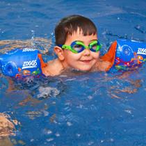 Zoggs Baby Swimming Armbands Blue Shark worn