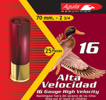 "Aguila Hunting High Velocity 16 Ga, 2.75"", 1-1/8 oz, 4 Shot, 250rd/Case (10 Boxes)"