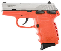 """SCCY CPX-1 9mm, 3.1"""", 10rd, Manual Safety, Orange Polymer Grame, Natural Stainless"""