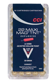CCI Varmint Maxi Mag TNT 22 Win Mag Jacketed Hollow Point 30 GR 50rd Box
