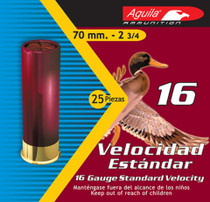"Aguila Hunting Standard Velocity 16 Ga, 2.75"", 1oz, 4 Shot, 250rd/Case (10 Boxes of 25rd)"