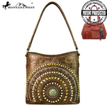 Montana West Concho Collection Concealed Handgun Hobo Bag, Coffee