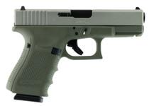 """Glock G19 Gen 4 9mm, 4.01"""", 15rd, Forest Green Frame, Stainless Steel Slide"""