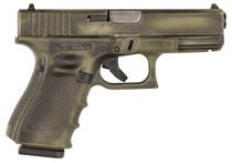 "Glock G19 Gen 4 9mm, 4.01"", 15rd, OD Green Battleworn Finish"