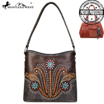 Montana West Concho Collection Concealed Carry Hobo Bag, Coffee